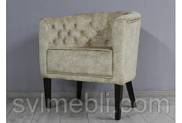 Кресло Доминика велюр бежевый ножки венге