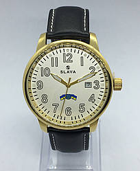 Часы Slava кварцевые белый/золото кожаный ремешок