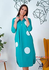 Платье батальные  в горох размер  46-48,50-52,54-56,58-60