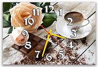 Красивые серо-коричневые часы на стену для кухни ReD Кофейная услада 30х45 см