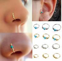 Пирсинг кольцо в нос набор 3 шт, сережка с шариками, 6 мм, 8 мм и 10 мм