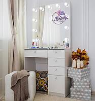 Стол для макияжас гримерным зеркалом с лампамии ящиками, цвет - белый