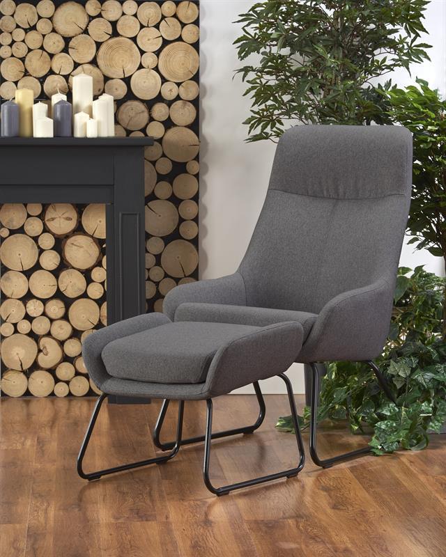 Крісло з підставкою для ніг BOLERO сірий (Halmar)