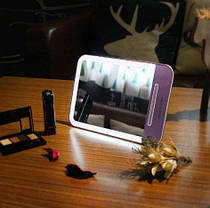 Зеркало с Led подсветкой. Заряжается от USB. Розовый, фото 3