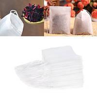 100x Фильтр пакет для заваривания чая трав, чайный пакетик c затяжкой