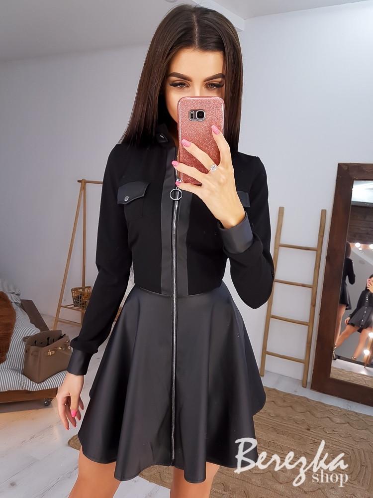 Платье с пышной юбкой и молнией спереди по всей длине, отделка из экокожи 6603899Q