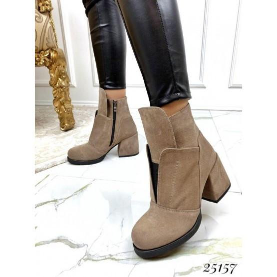 Женские ботинки бежевые демисезонные кожаные деми стильные нат замш на каблуке, жіночі чорні шкіряні черевики