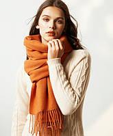 Шерстяной шарф женский оранжевый теплый