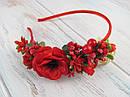 Обруч для волос цветы с калиной красный, фото 3