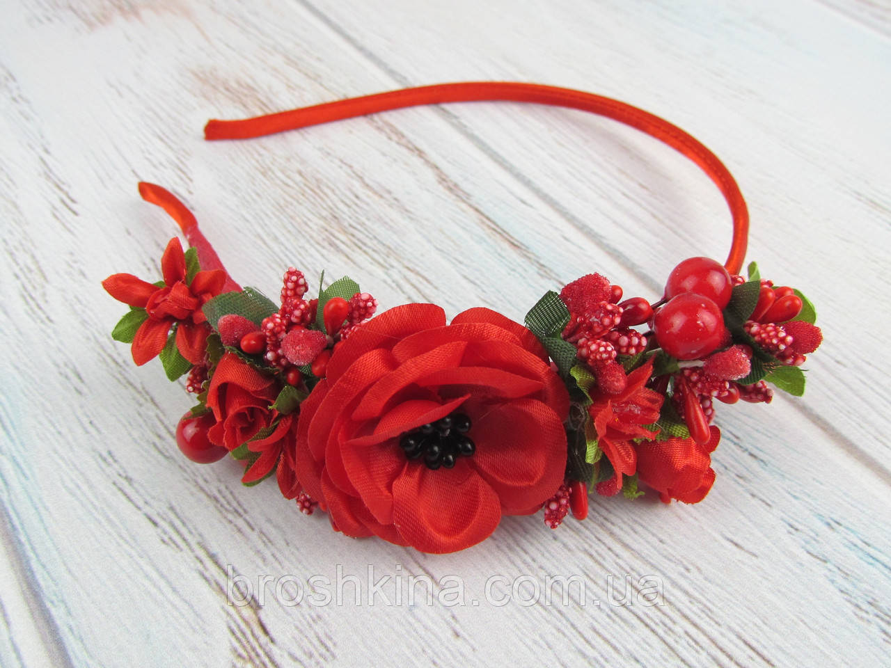 Обруч для волос цветы с калиной красный