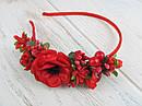 Обруч для волос цветы с калиной красный, фото 2