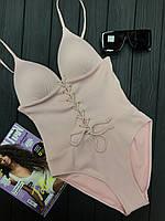 Женский сплошной купальник в рубчик со шнуровкой на груди 5125364