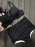 Купальник женский двойка с высокими плавками с оборками и твердым лифом 5125368