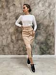 Кожаная юбка - карандаш длиной ниже колена на пуговицах спереди 3411356, фото 5
