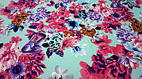 Нежная ткань шелк Армани бирюзового цвета с цветочным принтом, фото 1