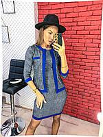 Жіночий костюм плаття+піджак 551 (42-44, 46-48, 50-52, 54-56) (кольори: сірий+чорний,сірий+електрик) СП, фото 1