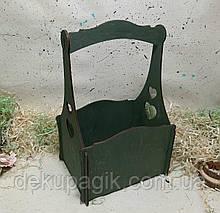 Кошик -кашпо з сердечками 15х19х29см, зелена