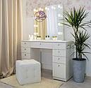 Стол для макияжа с гримерным зеркалом на надставке, стол визажиста с ящиками, цвет - белый, фото 3