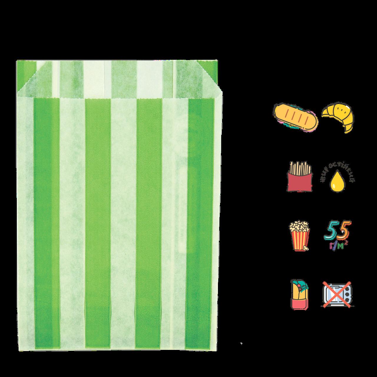 """Бумажный Пакет """"Салатовые полоски"""" жиростойкий  170х120х50мм (ВхШхГ), белый, 50г/м² 100шт (3706)"""