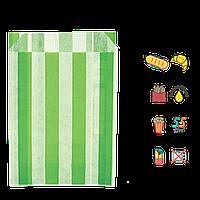 """Бумажный Пакет """"Салатовые полоски"""" жиростойкий  170х120х50мм (ВхШхГ), белый, 50г/м² 100шт (3706), фото 1"""