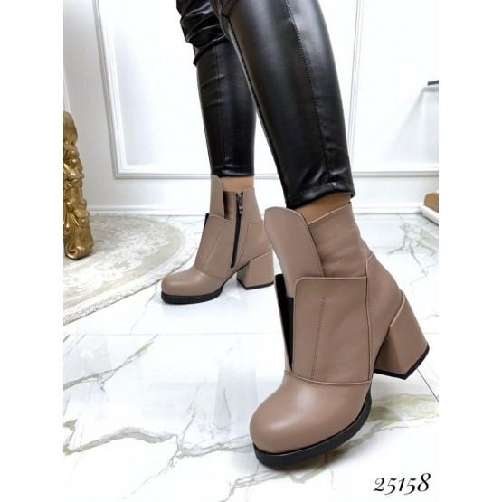 Женские ботинки бежевые демисезонные кожаные деми стильные нат замш на каблуке, жіночі бежеві шкіряні черевики