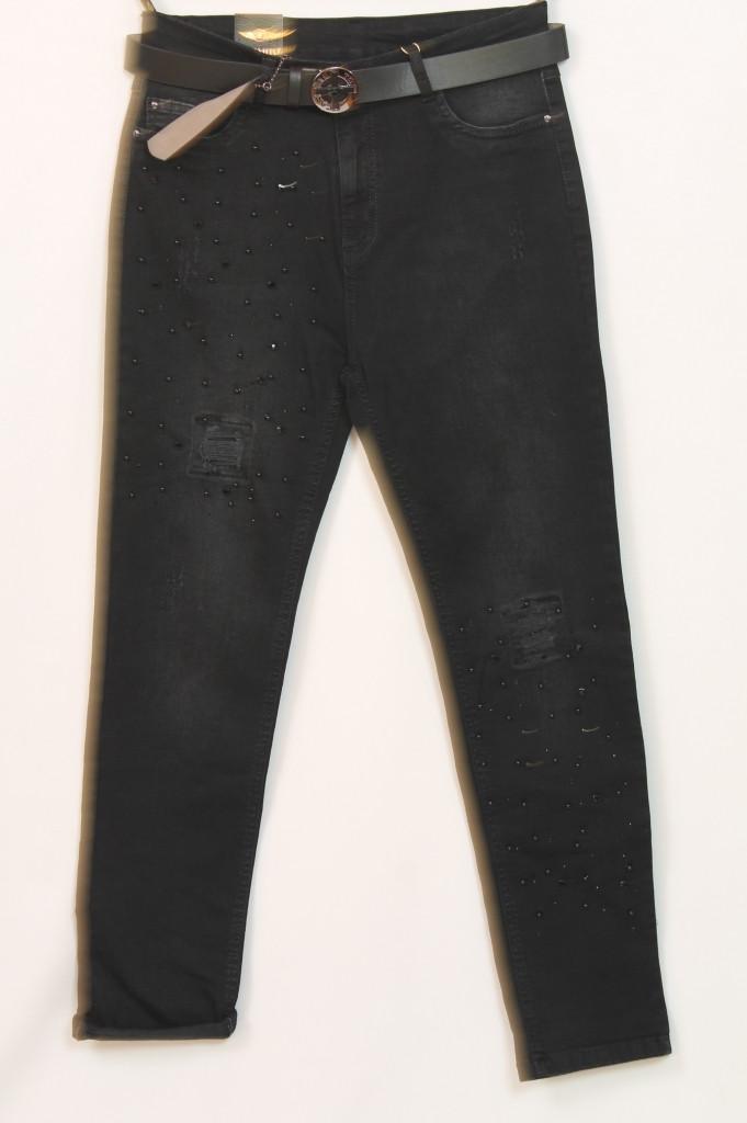 Турецкие женские черные джинсы со стразами, размеры 48-54