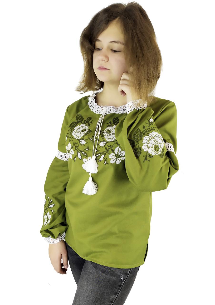 Подростковая стильная вышивка для девушки цвета хаки