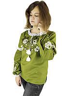 Підліткова стильна вишиванка для дівчини кольору хакі