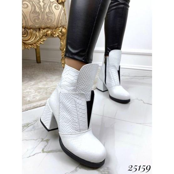 Женские ботинки белые демисезонные кожаные, деми ,стильные, нат кожа на каблуке, жіночі білі шкіряні черевики
