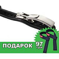Пояс кожаный атлетический 60/100 мм, карабин, трехслойный, фото 1