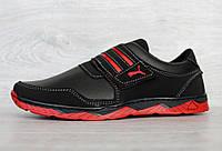 Чоловічі чорні кросівки демісезонні на червоній підошві кроссовки