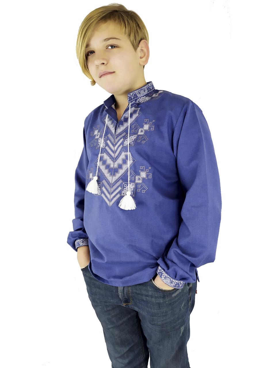 Святкова дитяча підліткова вишиванка для хлопчика на довгий рукав із домотканого полотна