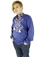 Праздничная детская подростковая вышиванка для мальчика с длинным рукавом с домотканого полотна, фото 1