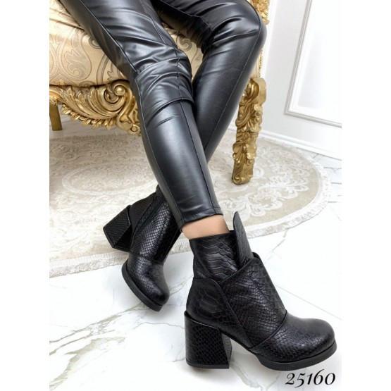 Женские ботинки черный демисезонные кожаные, деми, стильные нат кожа на каблуке, жіночі чорні шкіряні черевики