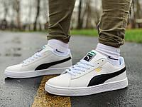 Кроссовки мужские кожаные в стиле Puma Suede белые с черным