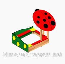 """Пісочниця """"Сонечко"""" (Божья Коровка) 1,7х1,7м. для дитячих ігрових майданчиків KidSport"""