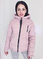 Стильная демисезонная розовая серая синяя куртка с капюшоном оптом