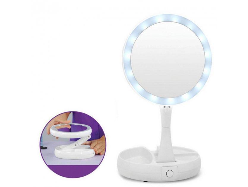 Косметическое увеличительное 10х зеркало для макияжа с подсветкой и USB Fold Away Mirror белое