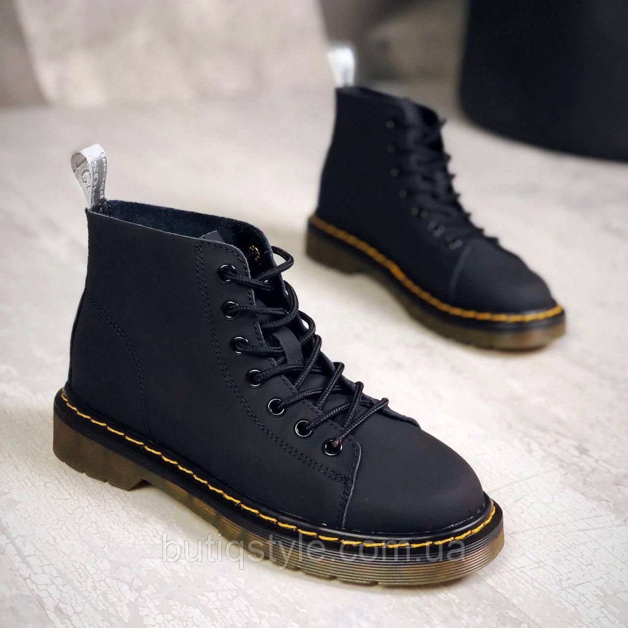 Женские ботинки черные натуральная кожа деми
