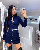 Женский юбочный джинсовый костюм на пуговицах с длинным рукавом 20KO452, фото 1