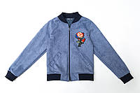 Бомбер для девочки р.128,134,140,146 замшевый SmileTime New Look, серо-голубой