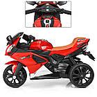 Детский мотоцикл с кожаным сиденьем M 3912EL-3 красный, фото 3