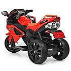 Детский мотоцикл с кожаным сиденьем M 3912EL-3 красный, фото 4