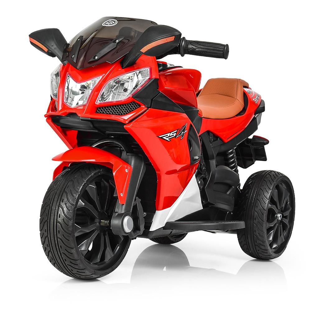 Детский мотоцикл с кожаным сиденьем M 3912EL-3 красный