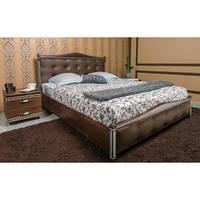 Кровать Олимп Прованс с мягкой спинкой квадраты массив бука