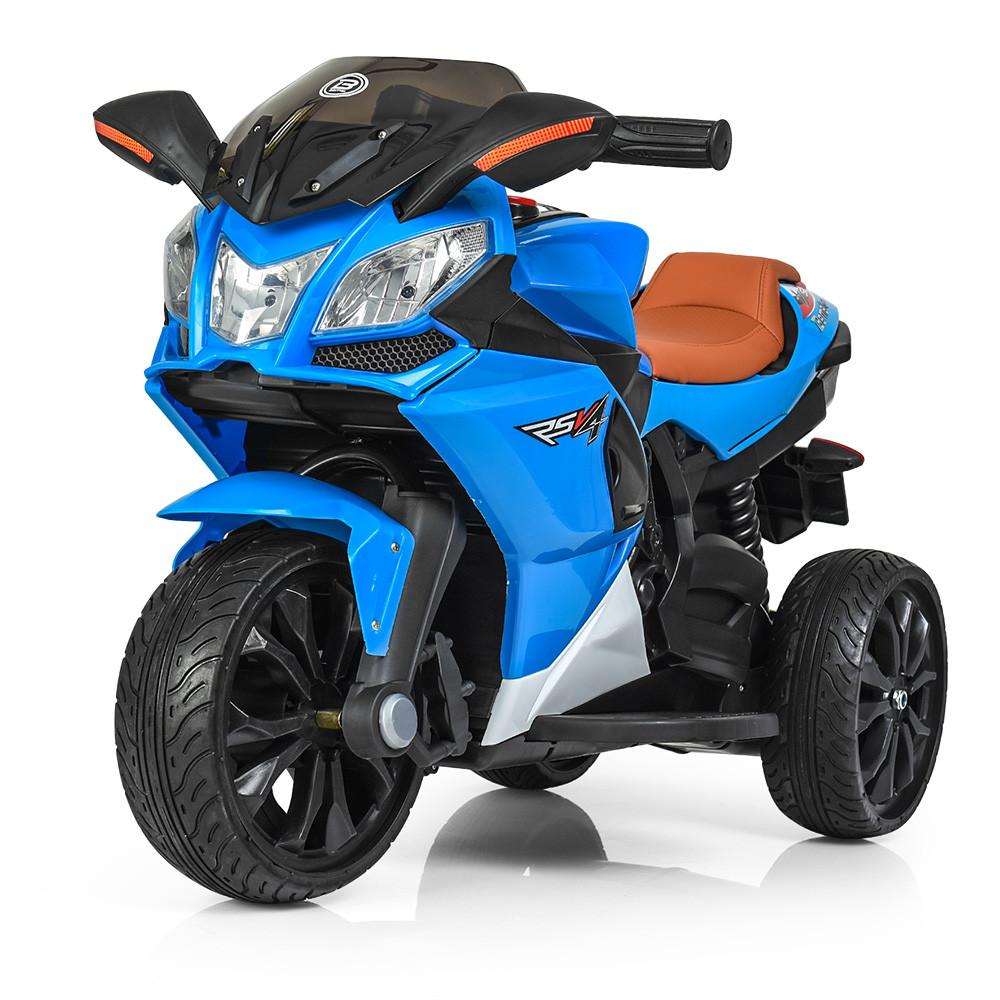 Детский мотоцикл с кожаным сиденьем M 3912EL-4 синий