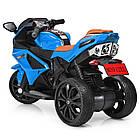 Детский мотоцикл с кожаным сиденьем M 3912EL-4 синий, фото 4