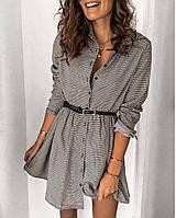 Женское стильное повседневное платье в клетку  с поясом в комплекте