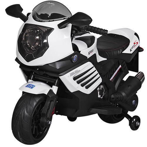 Детский мотоцикл BMW с кожаным сиденьем M 3578EL-1 белый