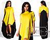 Молодіжне жовта сукня трикотажне з довгою чорною вставкою на спині Арт-2827/23